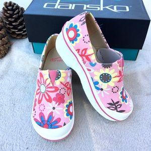 DANSKO pink floral Vesta clogs little girl size 13